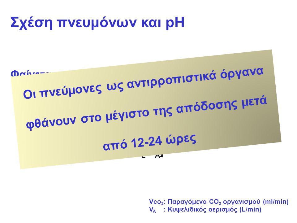 Σχέση πνευμόνων και pH Φαίνεται από δύο ισότητες: pH=pk + log [HCO3-/0,03xPaCO2] PaCO2=0,863 x [Vco2/VA]